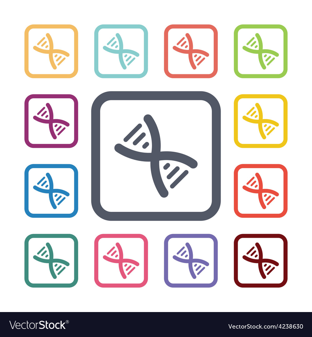 Dna flat icons set vector | Price: 1 Credit (USD $1)