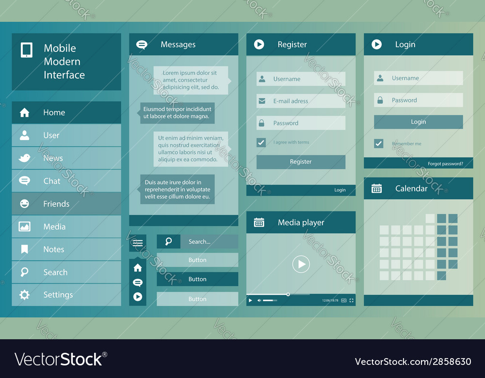 Flat design mobile interface vector | Price: 1 Credit (USD $1)