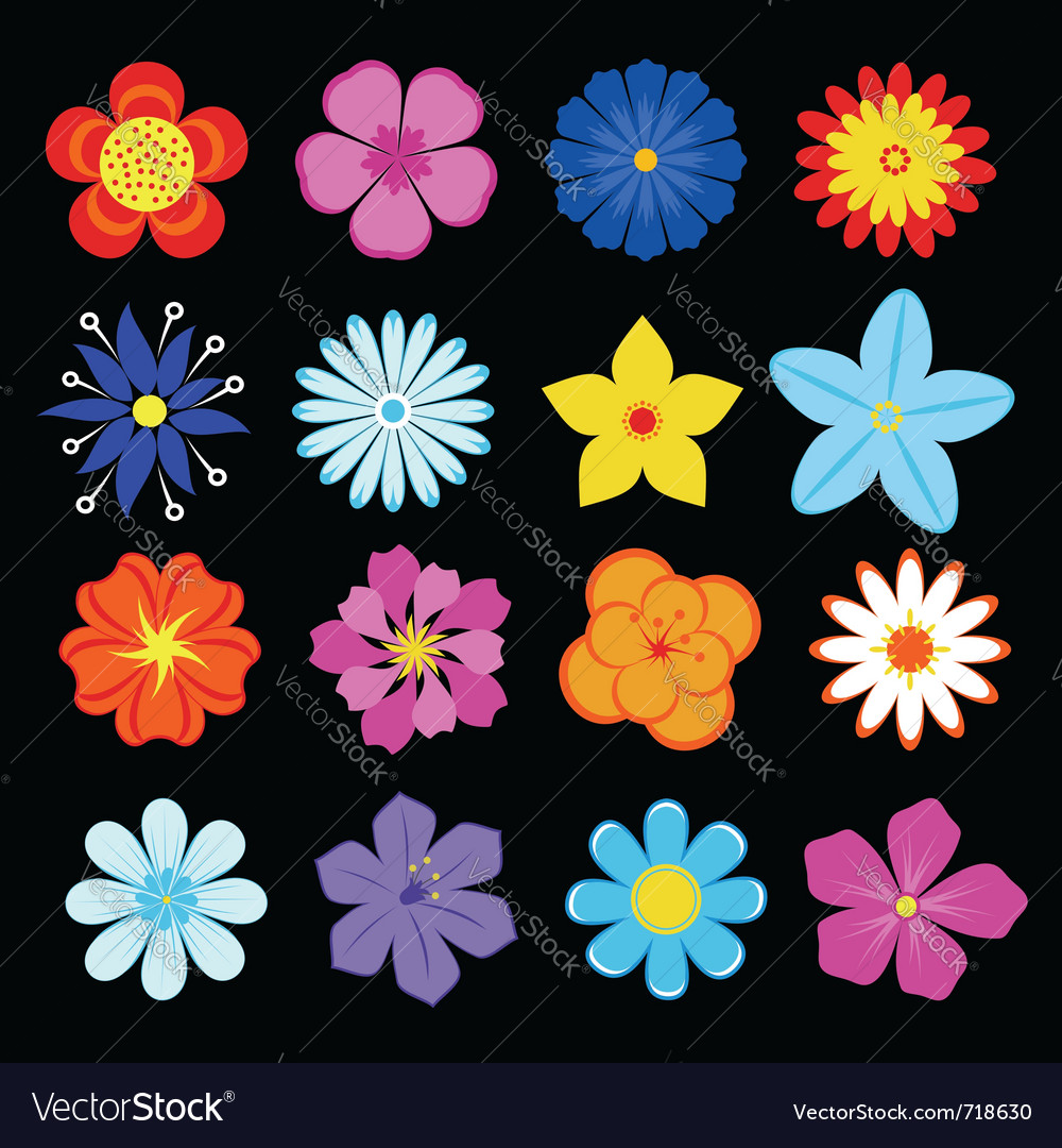 Floral blossoms set vector | Price: 1 Credit (USD $1)