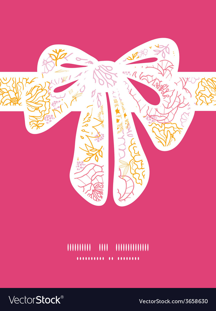 Flowers outlined gift bow silhouette pattern frame vector | Price: 1 Credit (USD $1)
