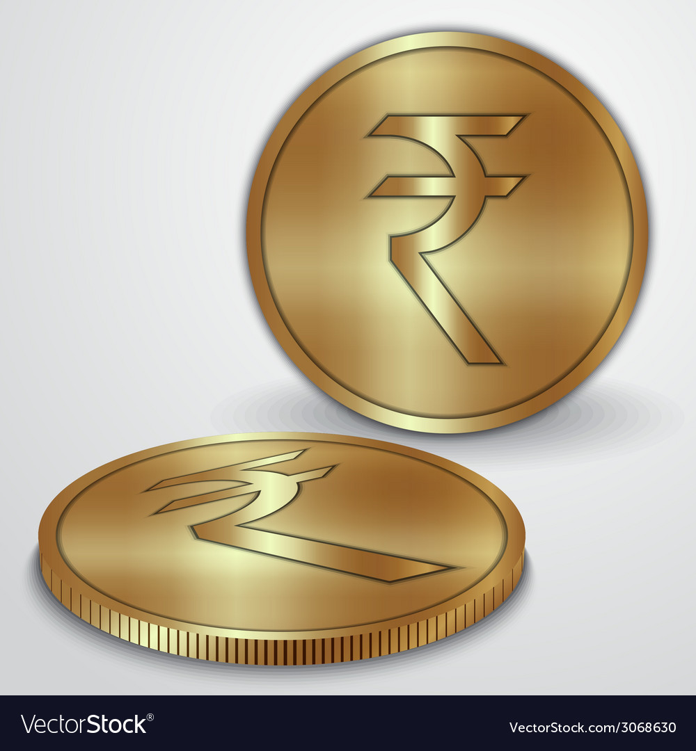 Gold coins with indian rupee currency sign vector | Price: 1 Credit (USD $1)