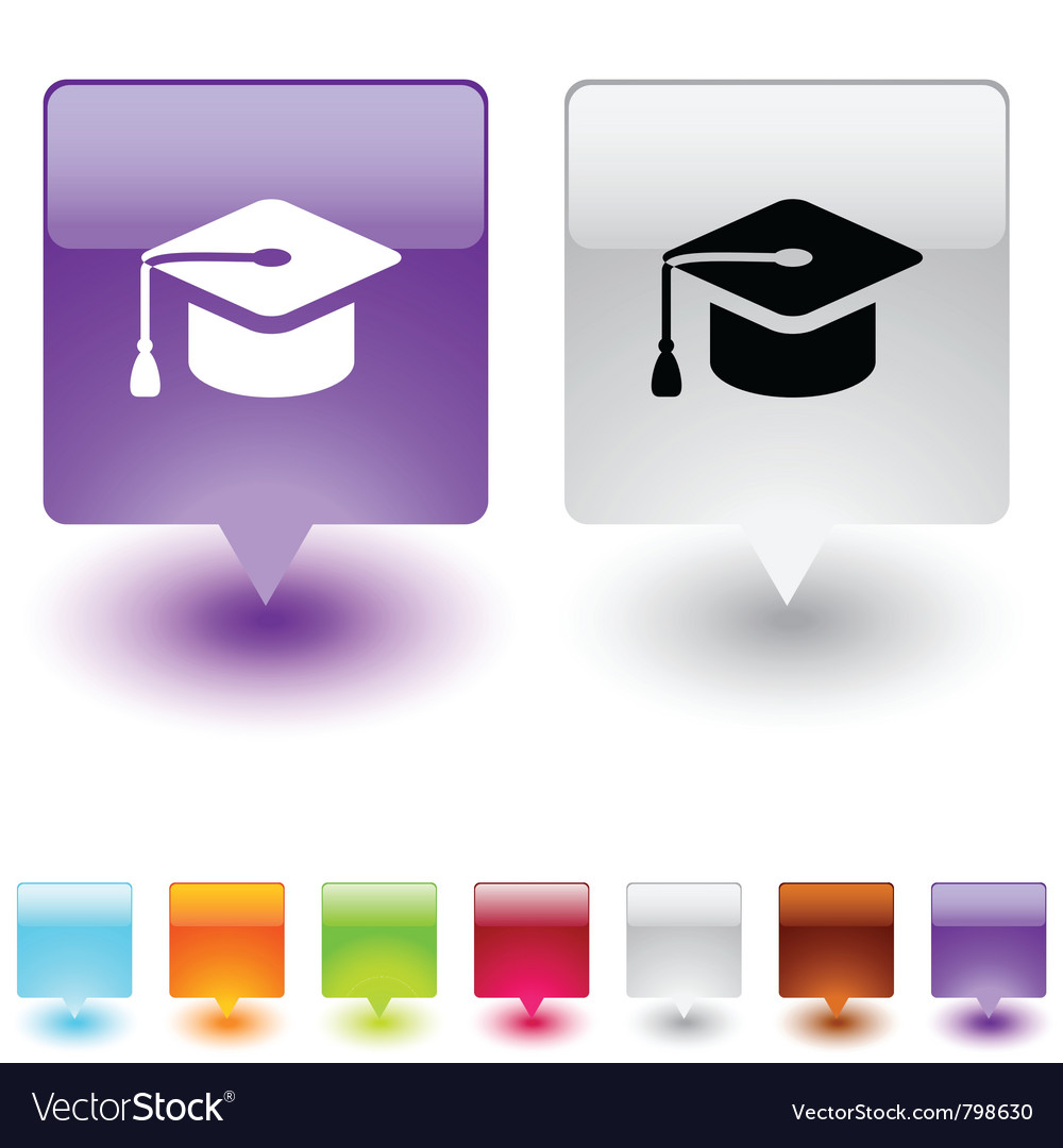 Graduation square button vector | Price: 1 Credit (USD $1)