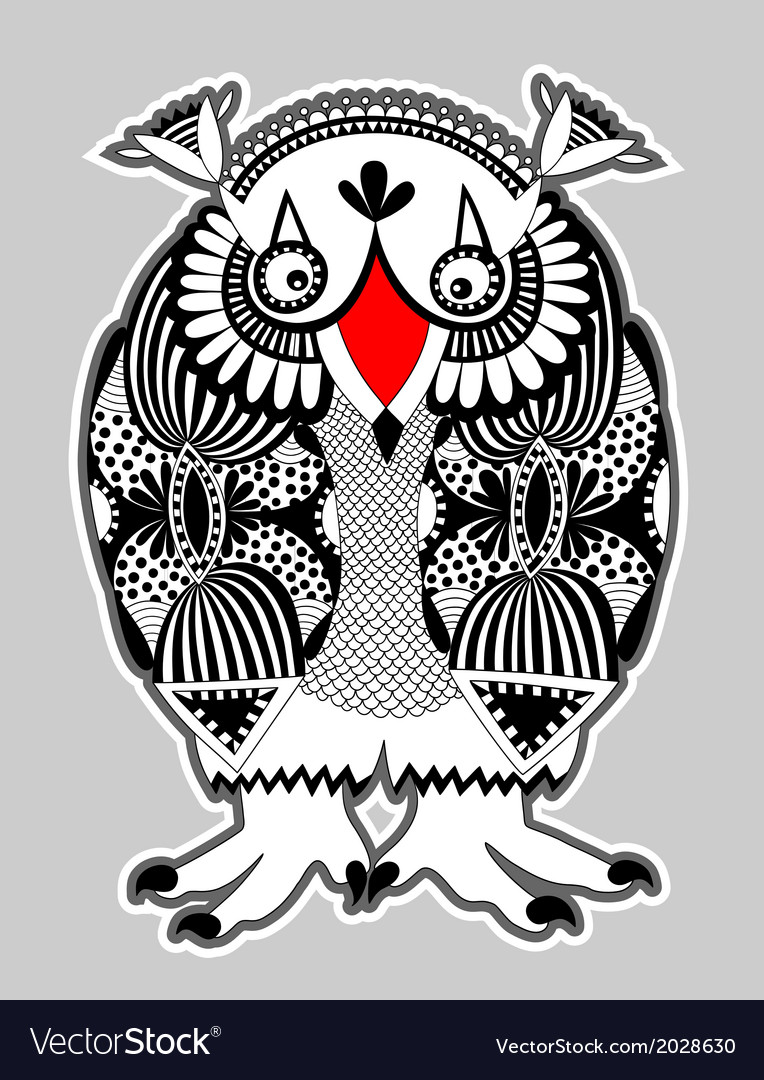 Ornate doodle fantasy monster personage owl vector | Price: 1 Credit (USD $1)