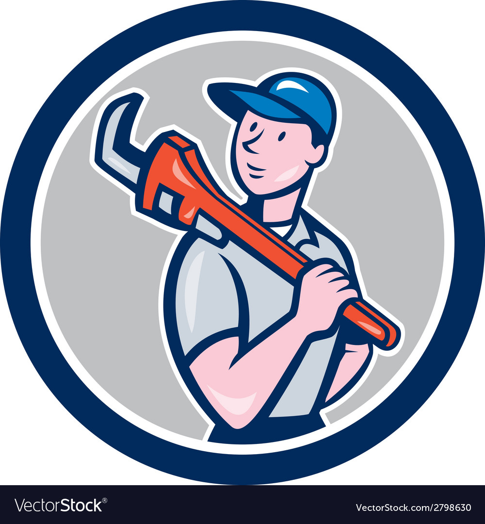 Plumber holding monkey wrench circle cartoon vector | Price: 1 Credit (USD $1)