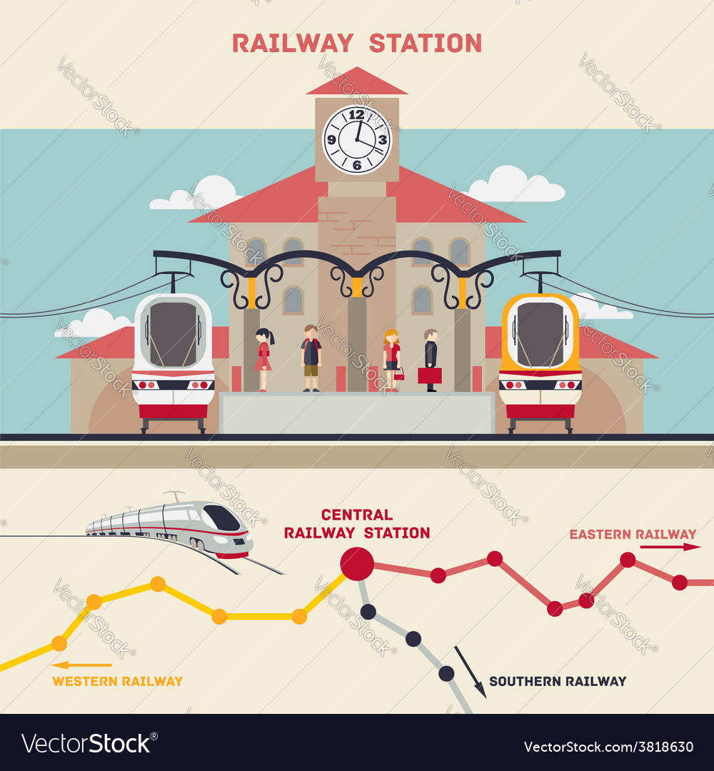 Railway station vector | Price: 3 Credit (USD $3)