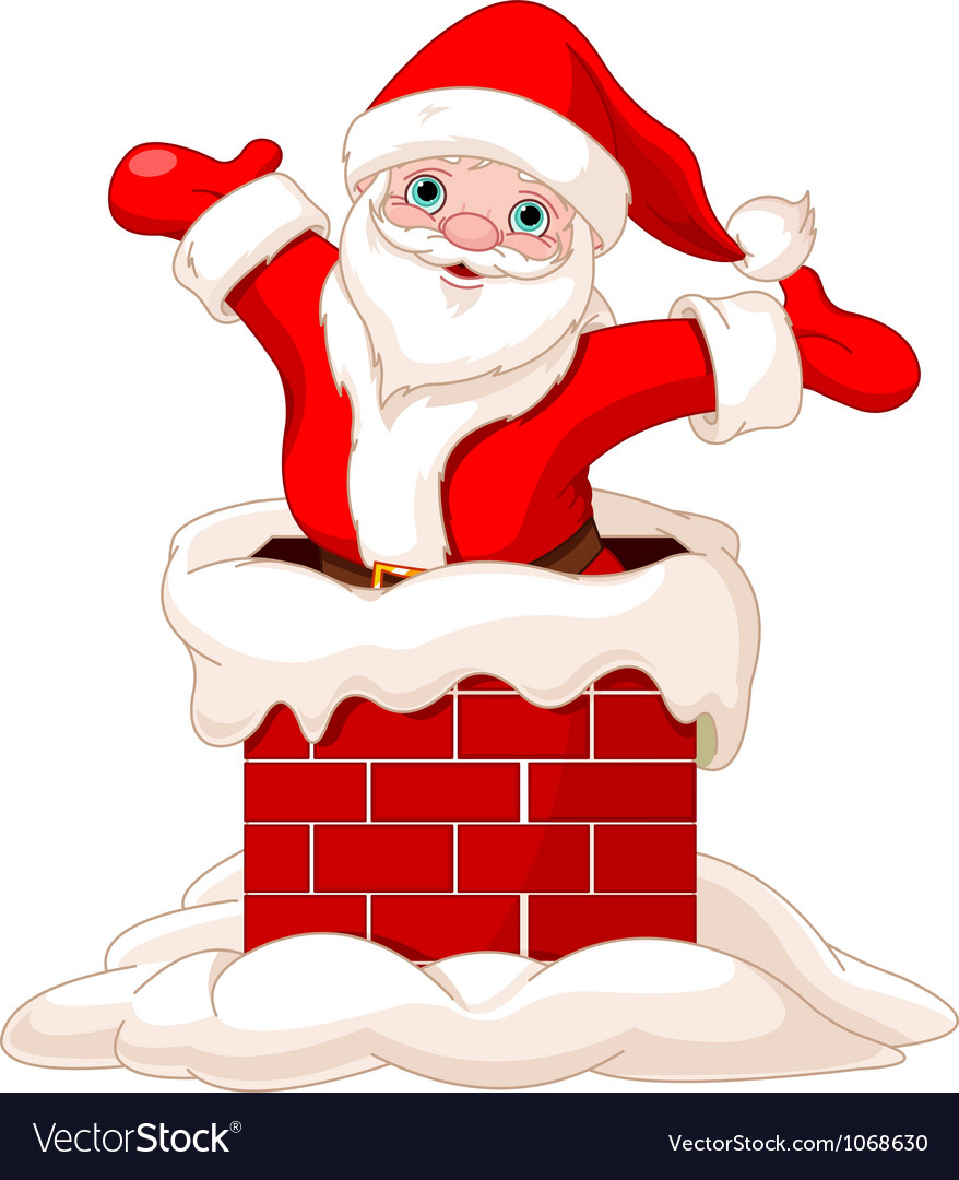 Santa claus jumping from chimney vector | Price: 3 Credit (USD $3)