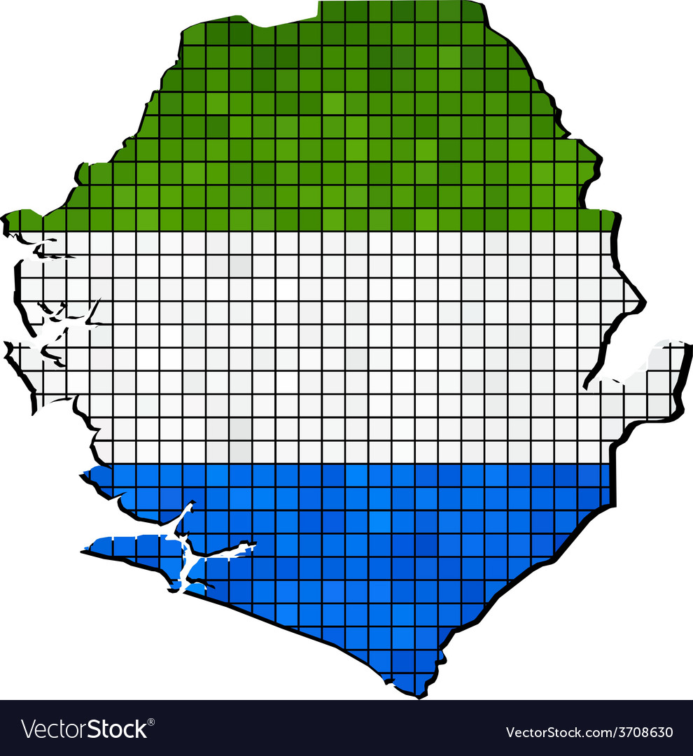 Sierra leone map with flag inside vector | Price: 1 Credit (USD $1)