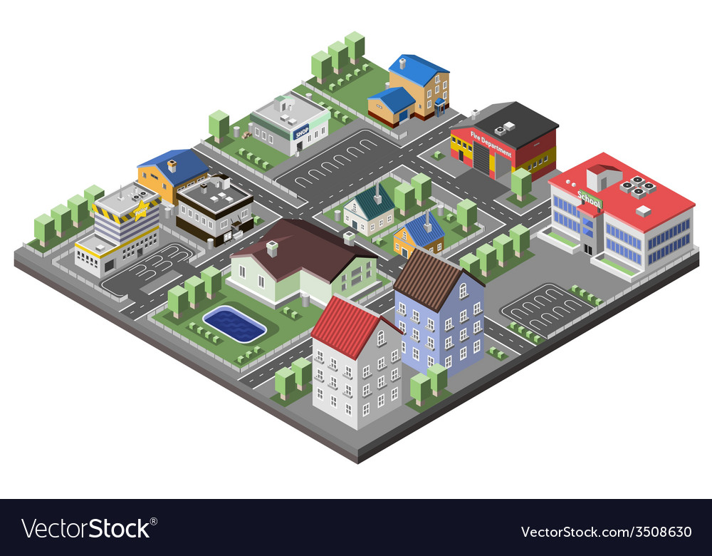 Suburban concept isometric vector | Price: 1 Credit (USD $1)