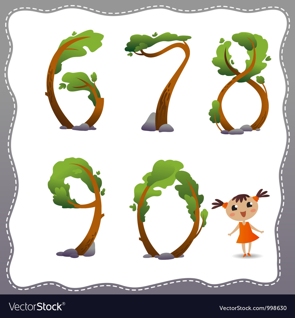 Tree number on white background vector | Price: 1 Credit (USD $1)