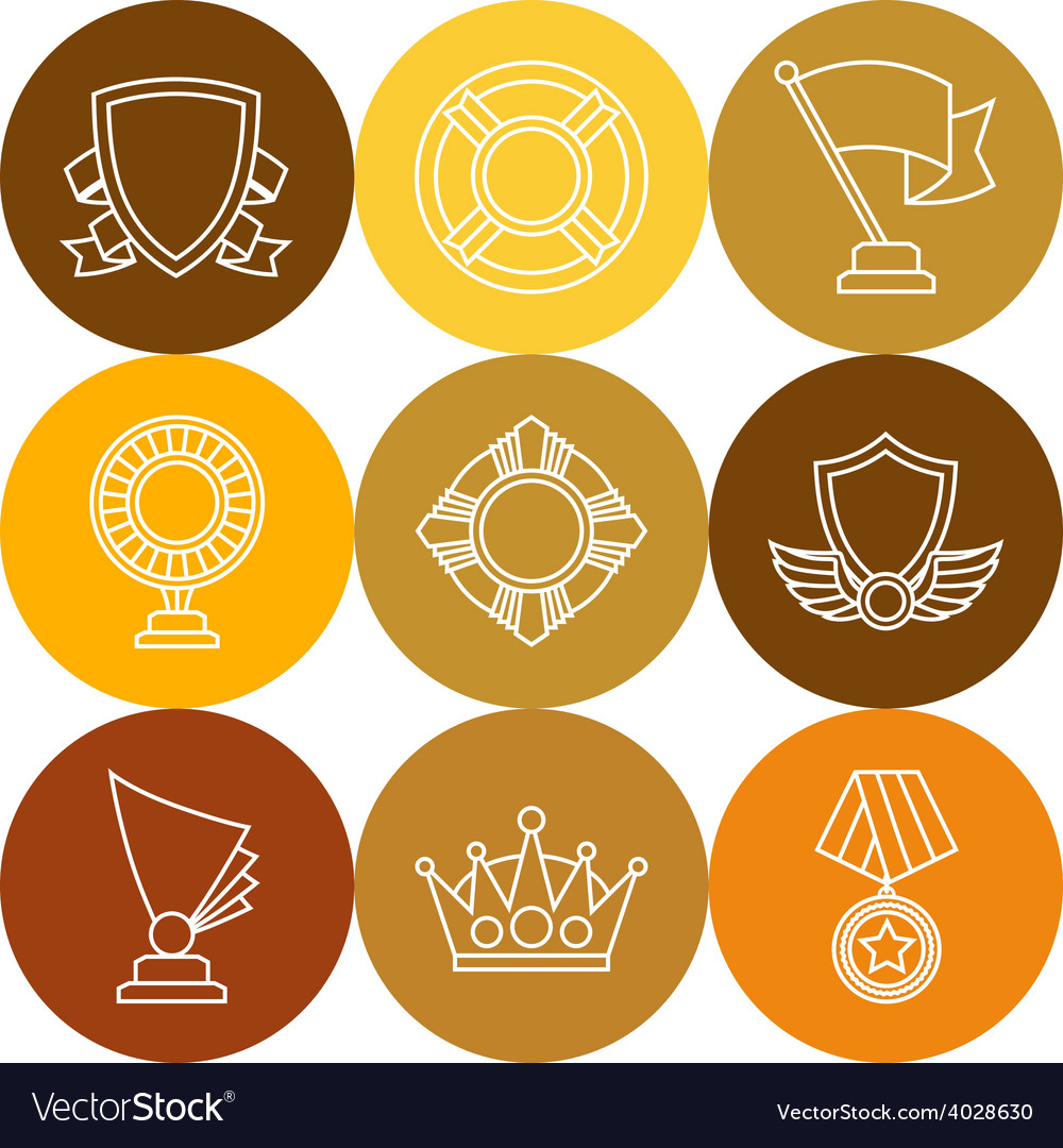 Trophy and awards icons set in linear style vector | Price: 1 Credit (USD $1)