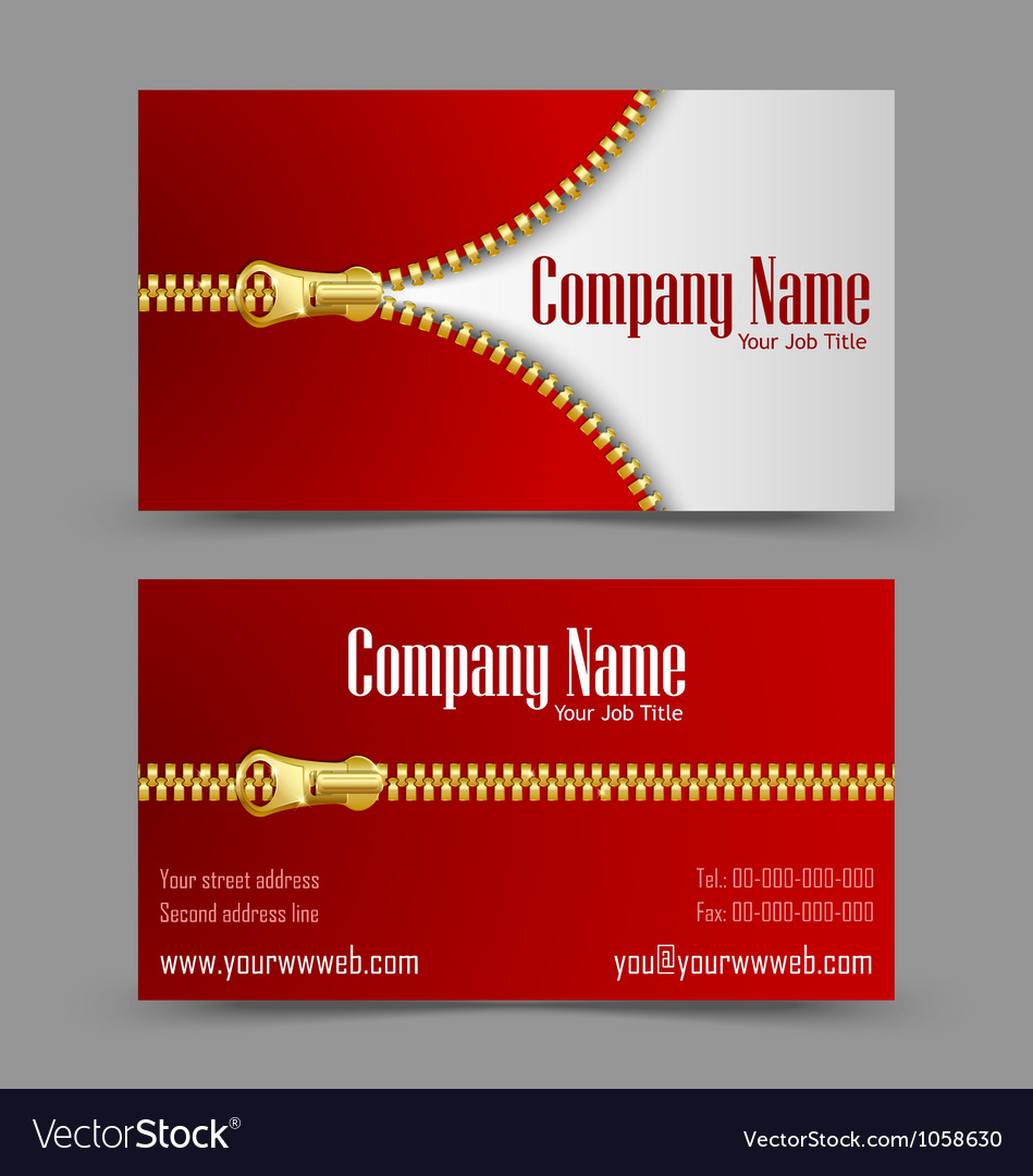 Zipper theme business card vector | Price: 1 Credit (USD $1)