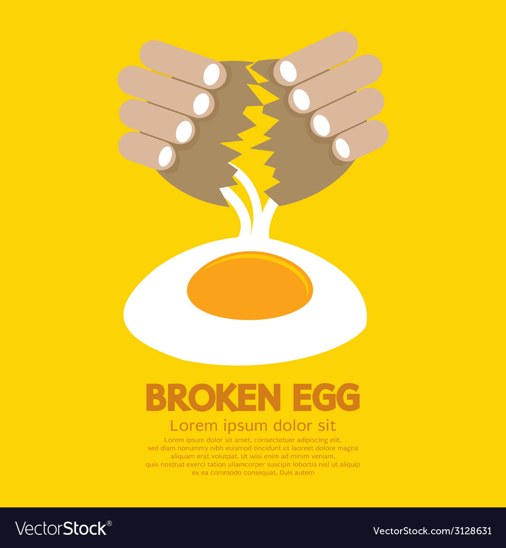 Broken egg in hand vector | Price: 1 Credit (USD $1)