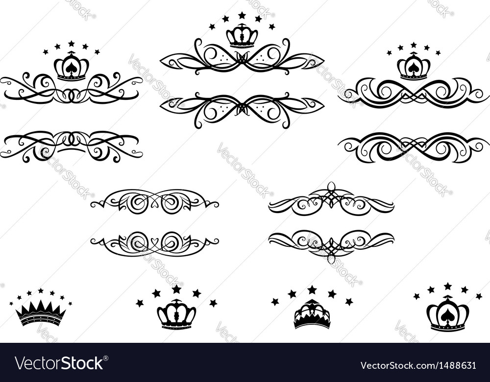 Decorative frames with crowns vector | Price: 1 Credit (USD $1)