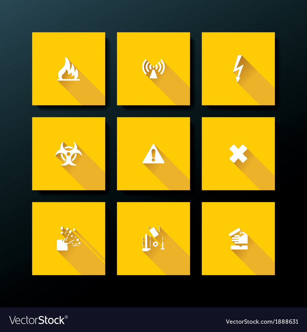 Flat warning icon set vector | Price: 1 Credit (USD $1)