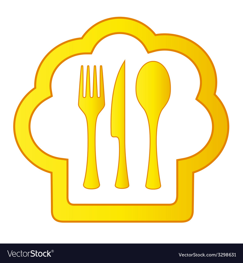 Gold cook hat with kitchen utensil vector | Price: 1 Credit (USD $1)
