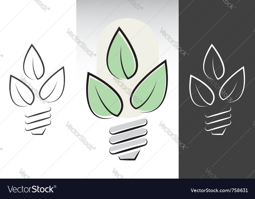 Green energy light bulbs symbols vector | Price: 1 Credit (USD $1)