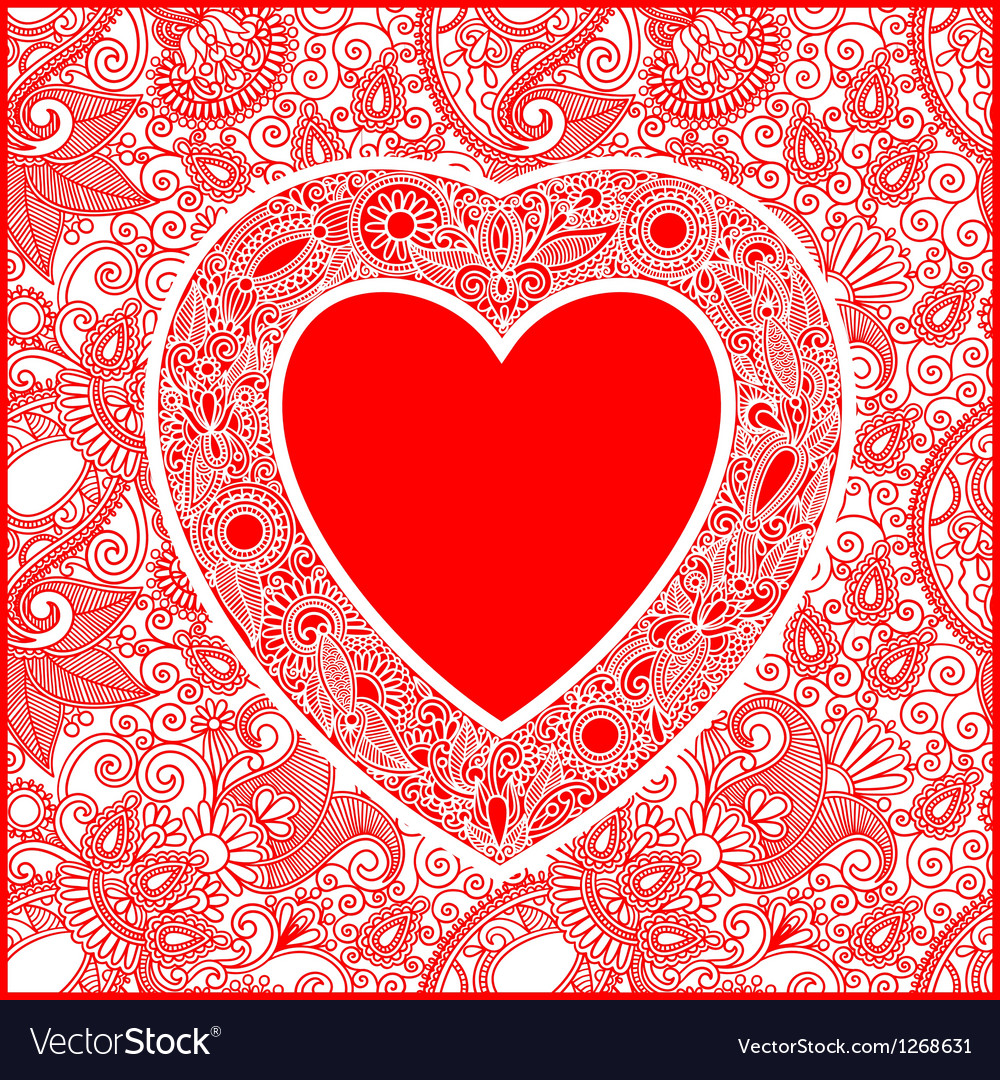 Ornate valentin day card with heart vector | Price: 1 Credit (USD $1)