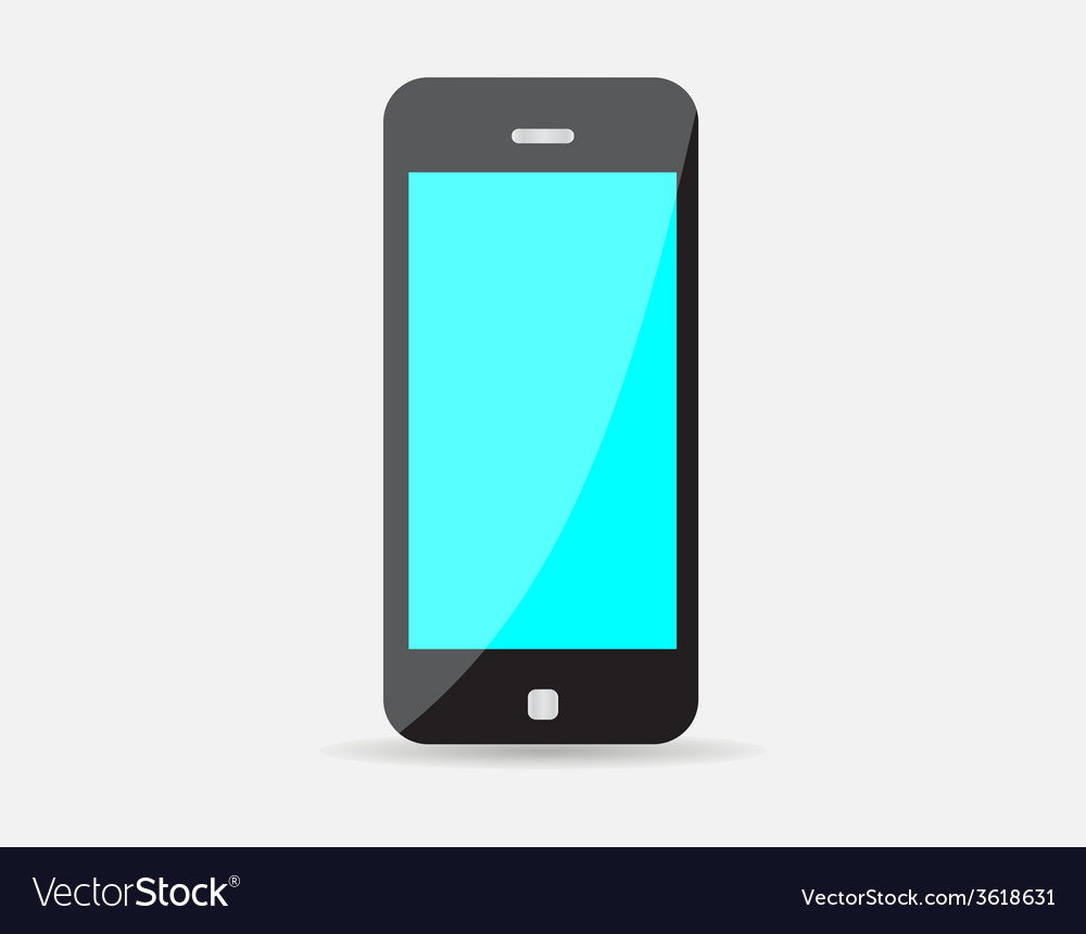 Realistic black mobile phone with blue screen vector | Price: 1 Credit (USD $1)