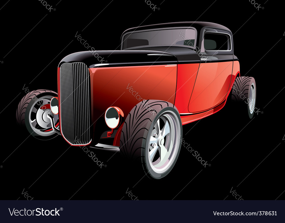 Red hot rod on black vector | Price: 5 Credit (USD $5)