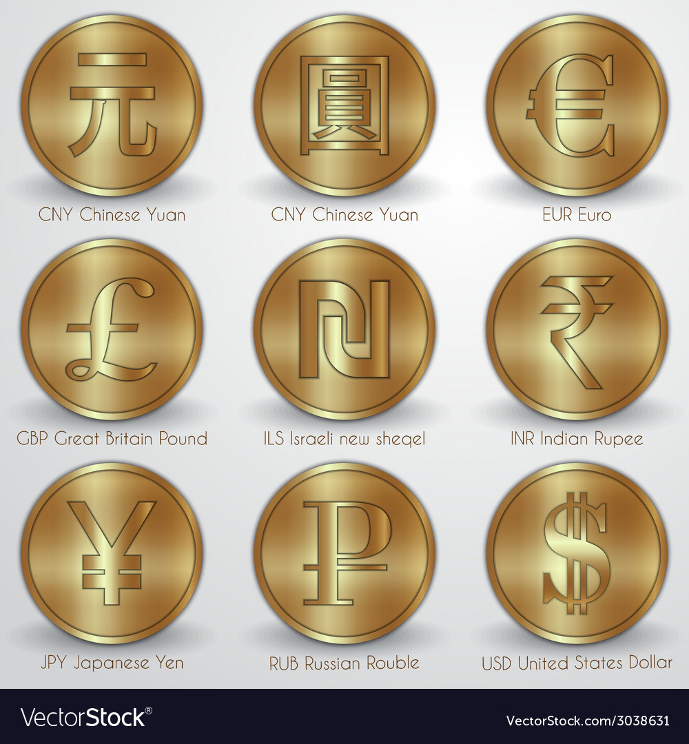 Set of gold coins with different currency signs vector | Price: 1 Credit (USD $1)