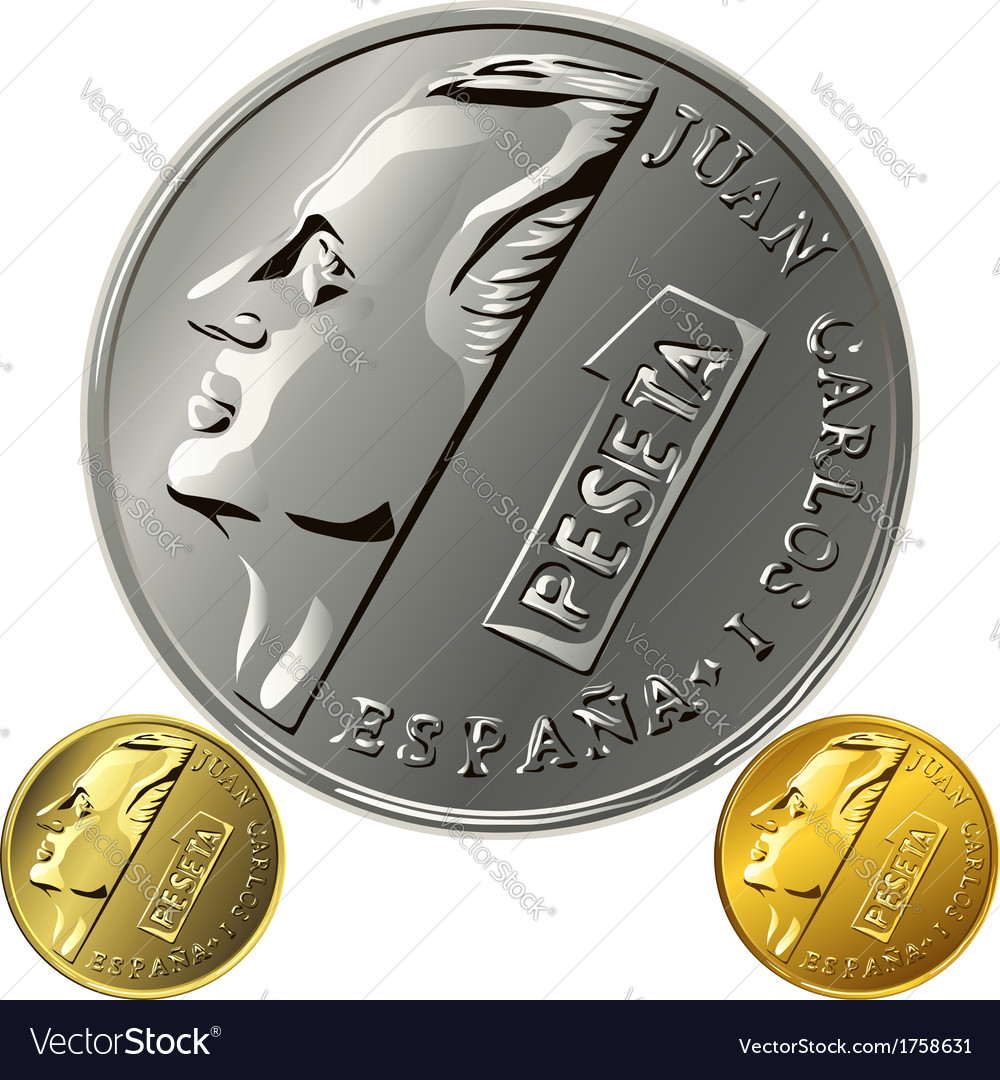 Spanish money peseta gold and silver coin with the vector
