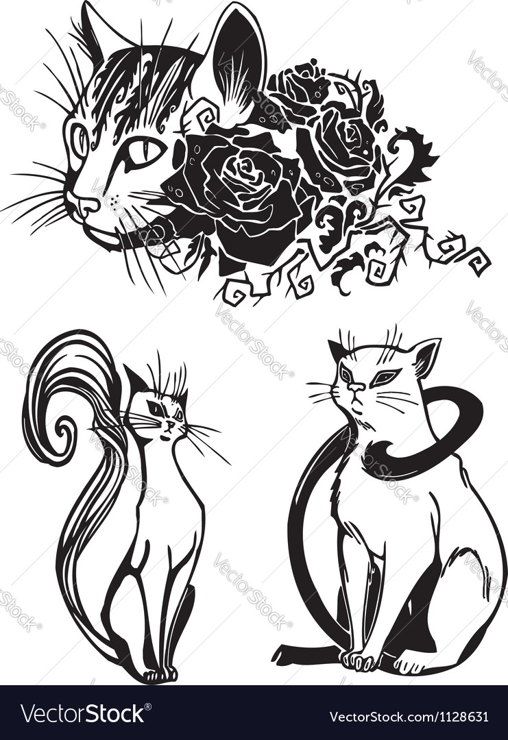 Stylized cats - elegance and graceful cats vector | Price: 1 Credit (USD $1)