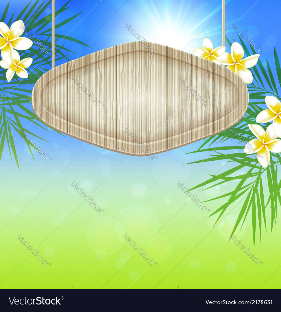 Summer background with palm branch vector
