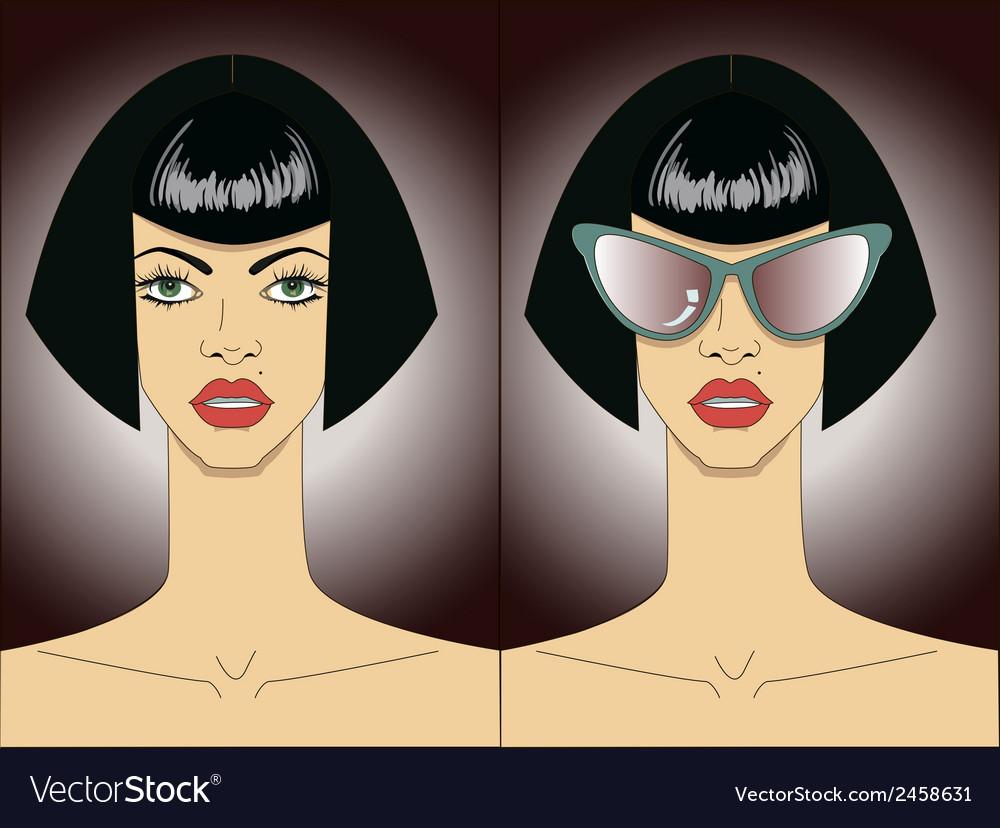Women faces in sunglasses vector