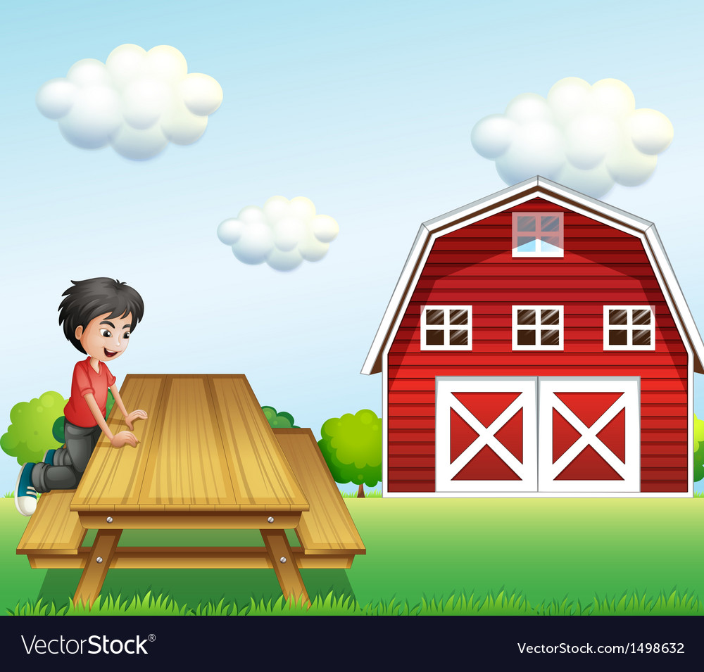 A boy at the table near the barnhouse vector | Price: 1 Credit (USD $1)