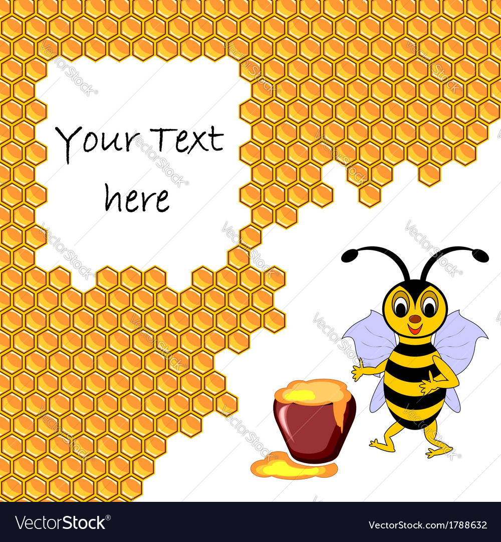 A cute cartoon bee with a honey pot vector | Price: 1 Credit (USD $1)