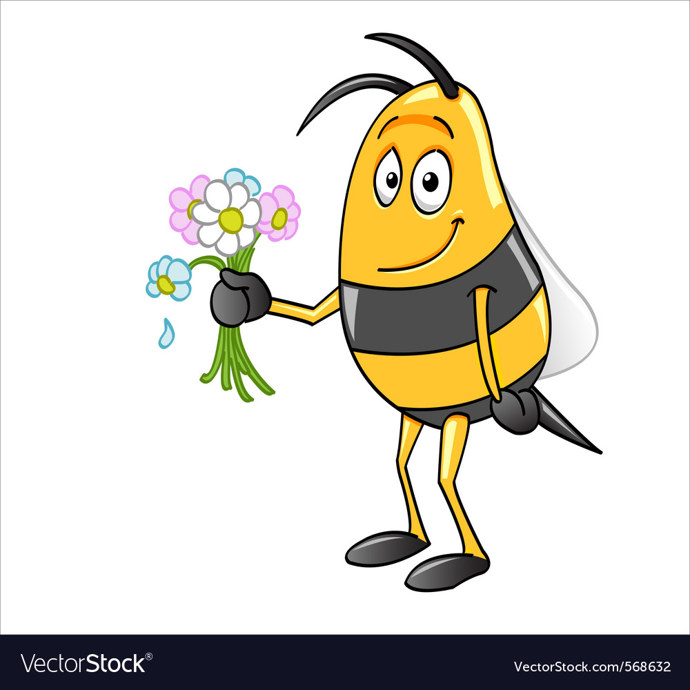 Bee holding flowers vector | Price: 1 Credit (USD $1)