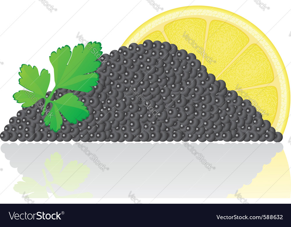 Black caviar with lemon vector | Price: 1 Credit (USD $1)