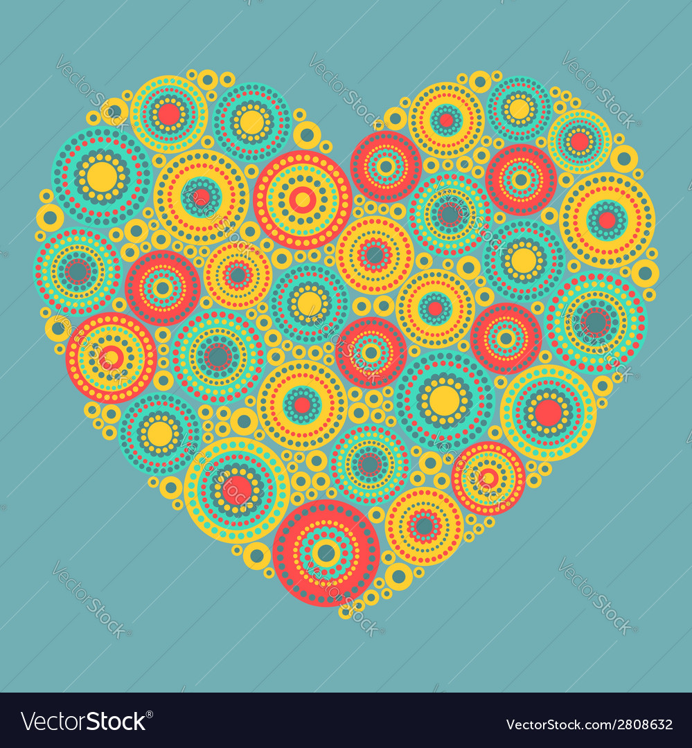 Bright abstract heart on blue background vector | Price: 1 Credit (USD $1)