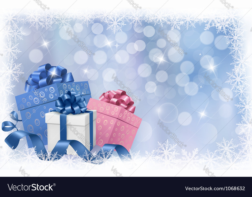 Christmas background with gift boxes and ribbons vector | Price: 1 Credit (USD $1)