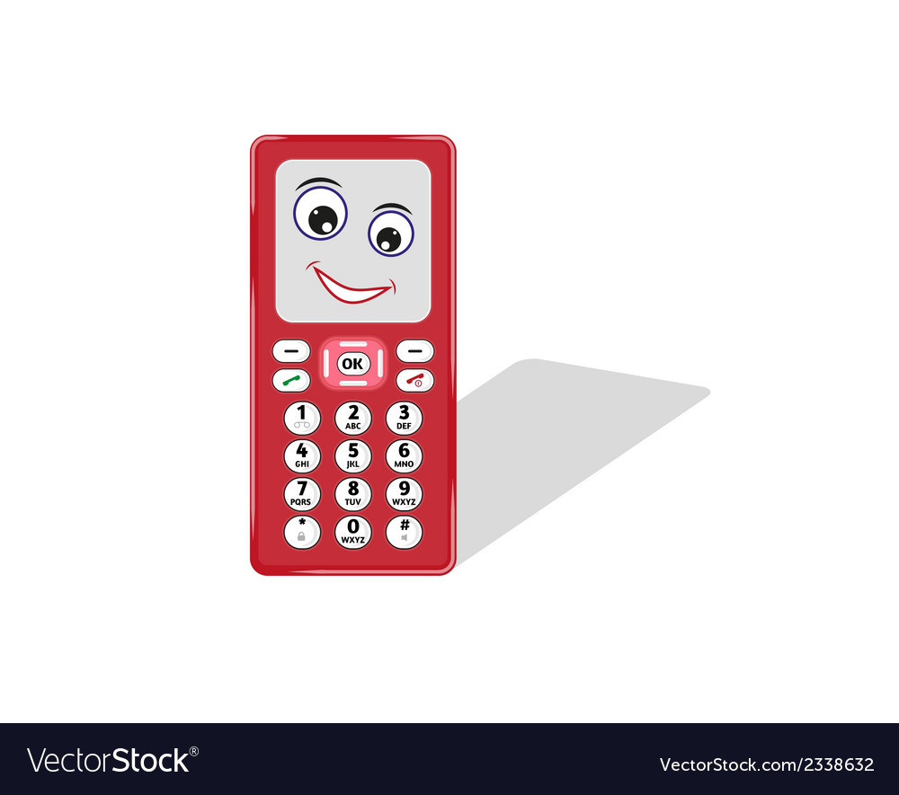Comic phone with eye and smile vector | Price: 1 Credit (USD $1)