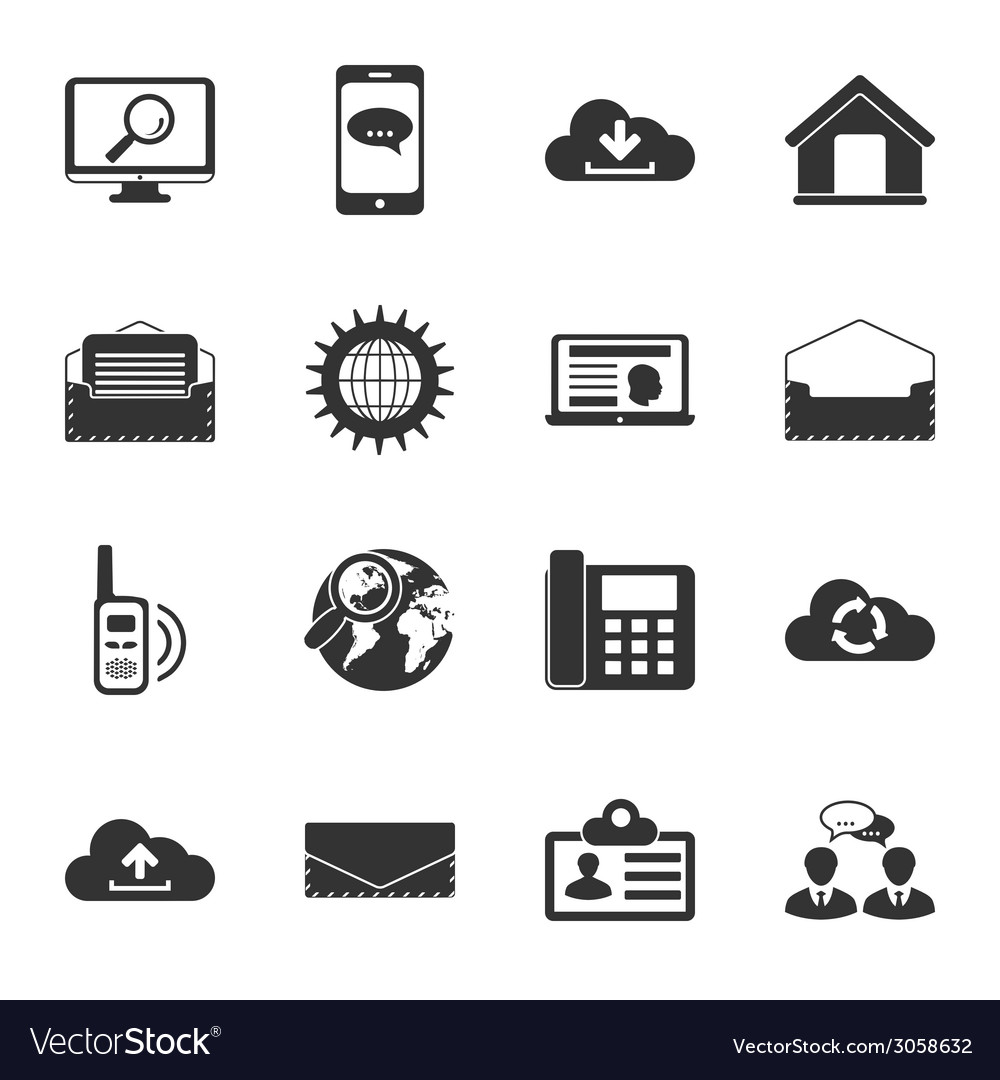 Communication black and white flat icons set vector | Price: 1 Credit (USD $1)