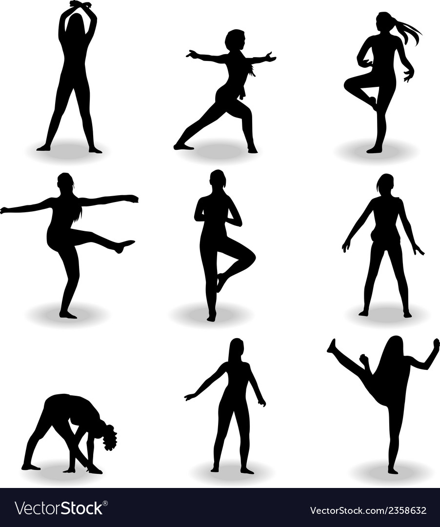 Dance women silhouette vector | Price: 1 Credit (USD $1)