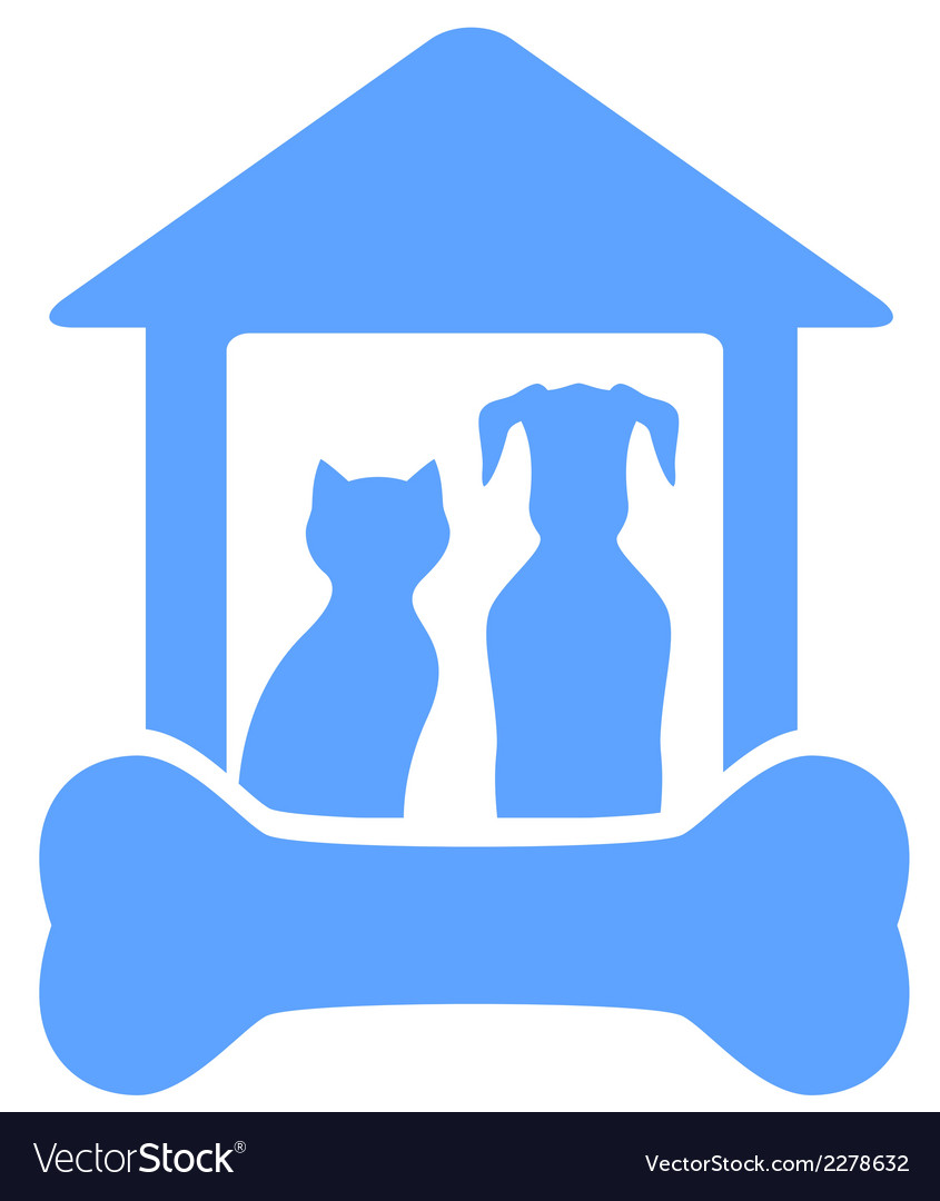 Dog and cat on home with bone silhouette vector | Price: 1 Credit (USD $1)