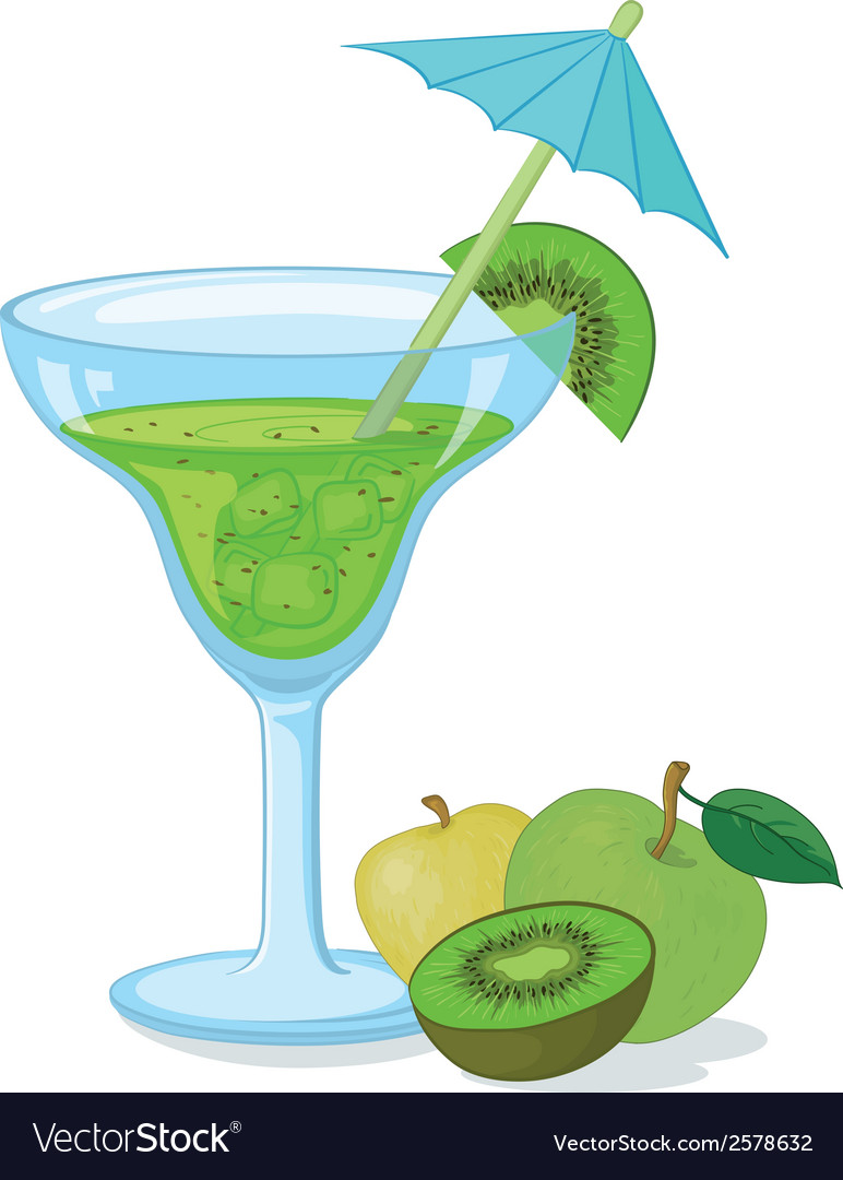 Glass with green drink and fruits vector | Price: 1 Credit (USD $1)