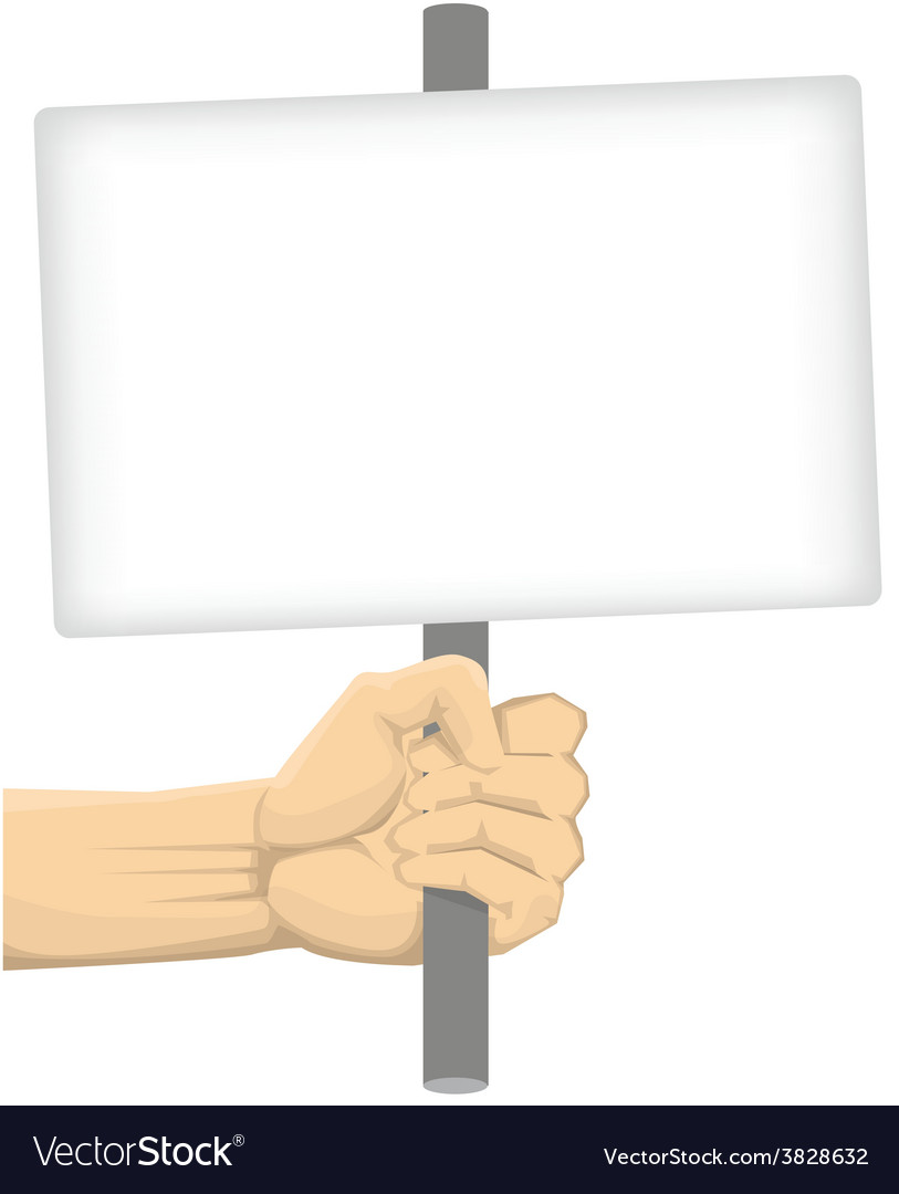 Hand holding blank board vector | Price: 1 Credit (USD $1)