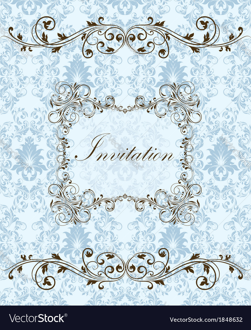 Invitation card style damask vector | Price: 1 Credit (USD $1)
