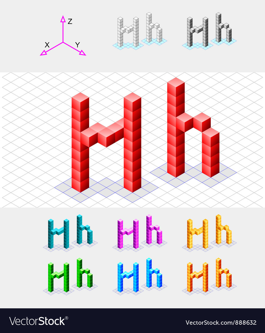 Isometric font from the cubes letter h vector   Price: 1 Credit (USD $1)