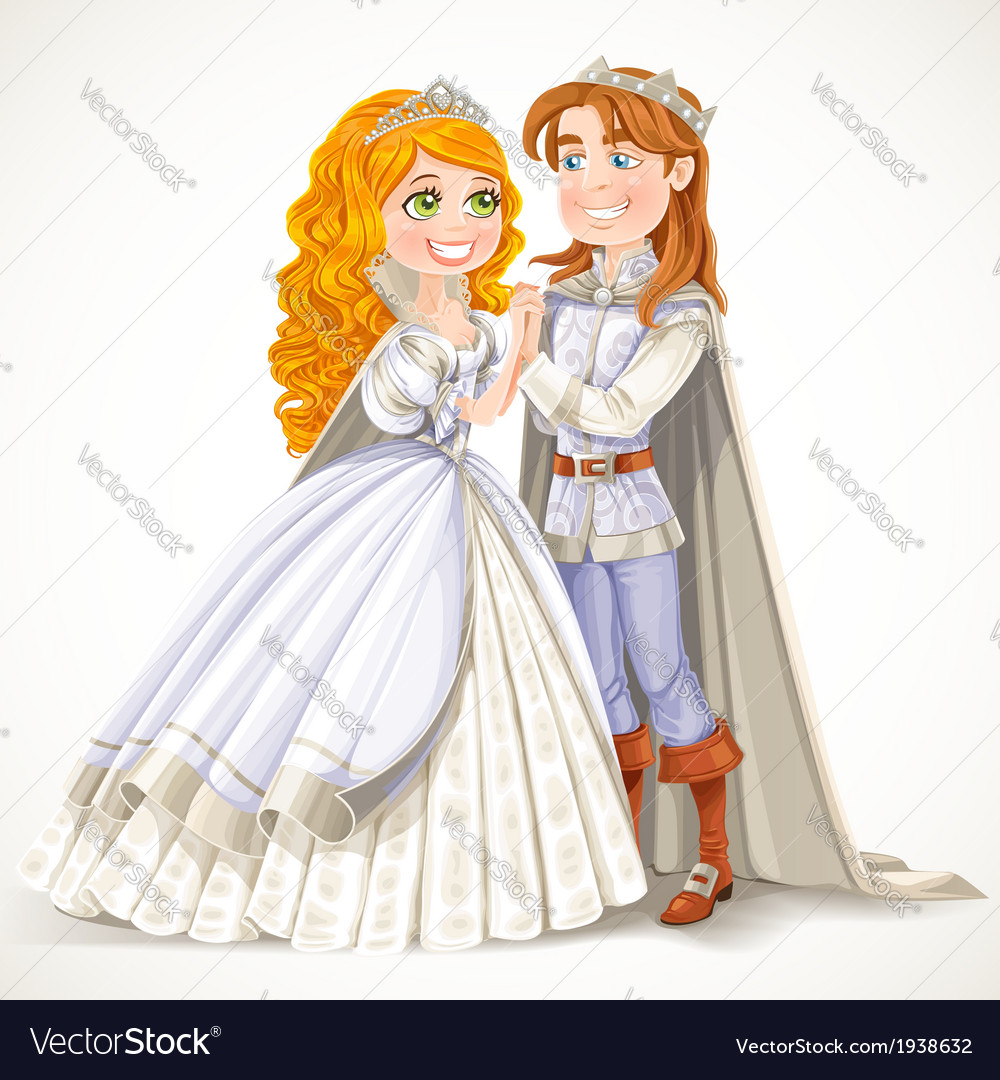 Lovely prince and princess holding hands vector | Price: 5 Credit (USD $5)