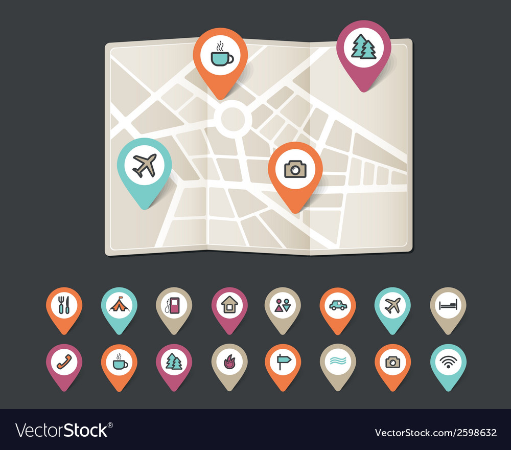 Mapping pins icons travel vector | Price: 1 Credit (USD $1)