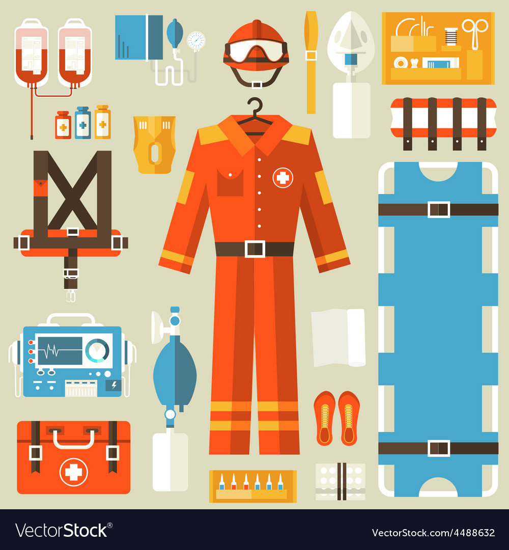 Medical rescue uniform and set first aid help vector | Price: 3 Credit (USD $3)