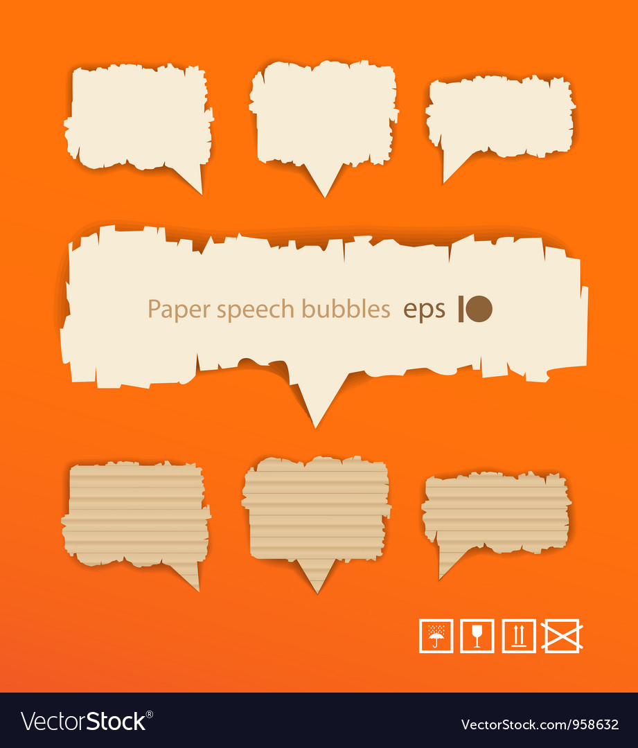 Paper style speech bubbles vector | Price: 1 Credit (USD $1)