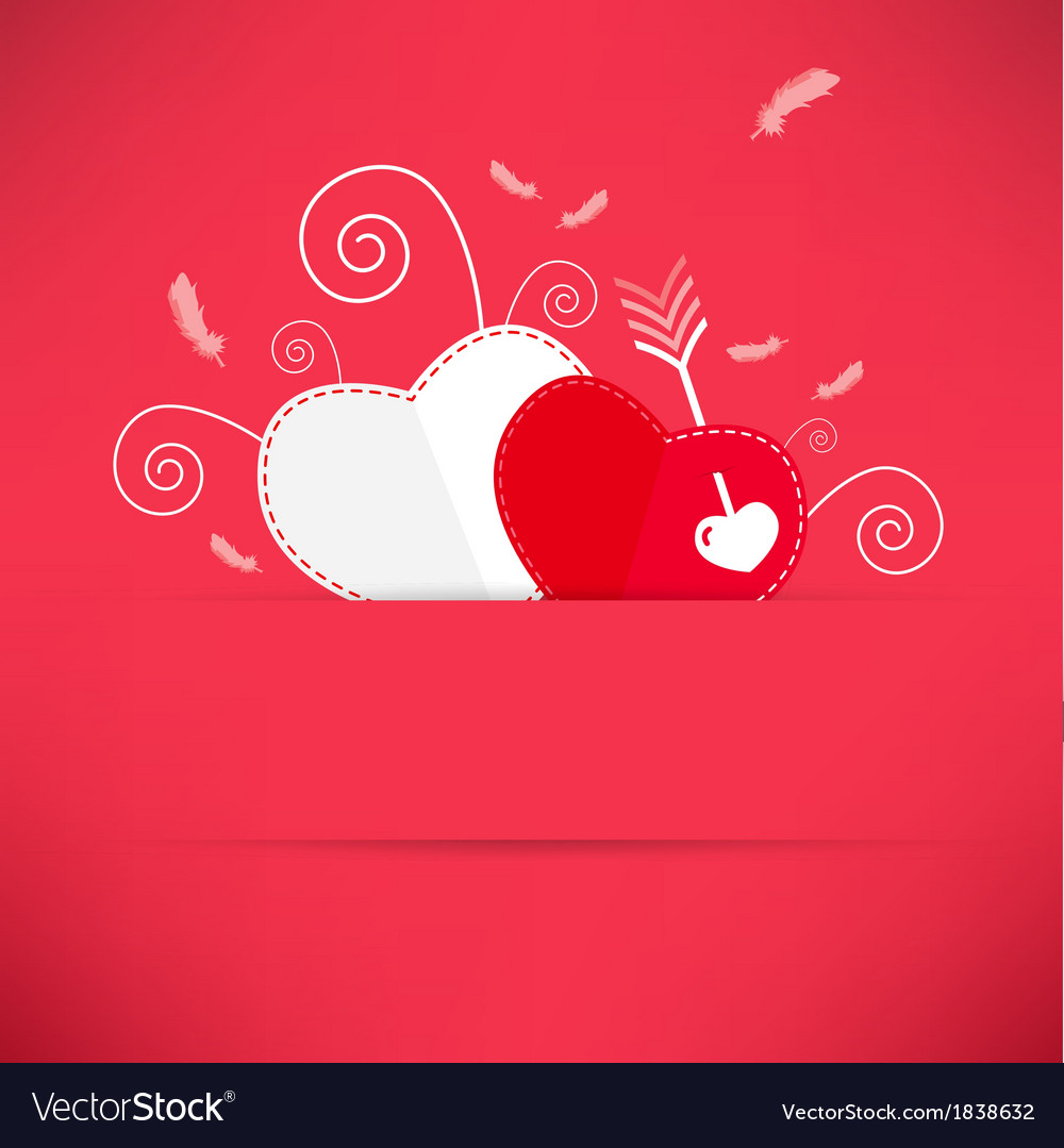Red valentines day background with heart an arrow vector | Price: 1 Credit (USD $1)