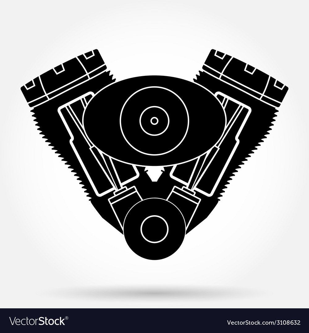 Silhouette symbol of retro motorcycle engine vector | Price: 1 Credit (USD $1)