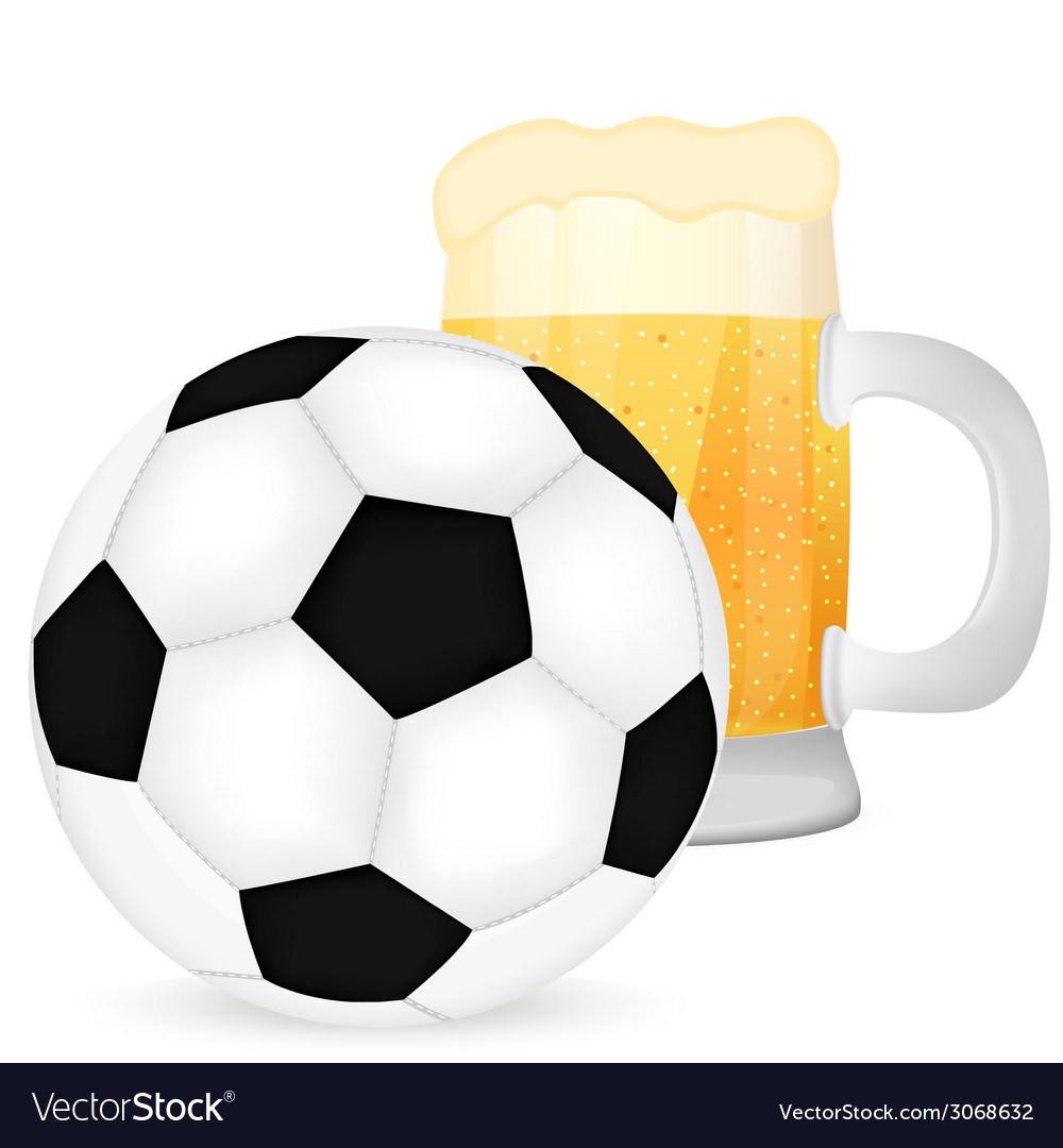 Soccer ball and a mug of beer vector | Price: 1 Credit (USD $1)