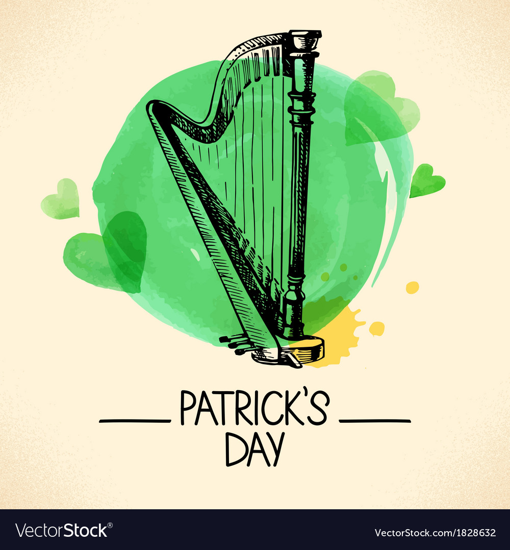 St patricks day background with hand drawn sketch vector | Price: 1 Credit (USD $1)